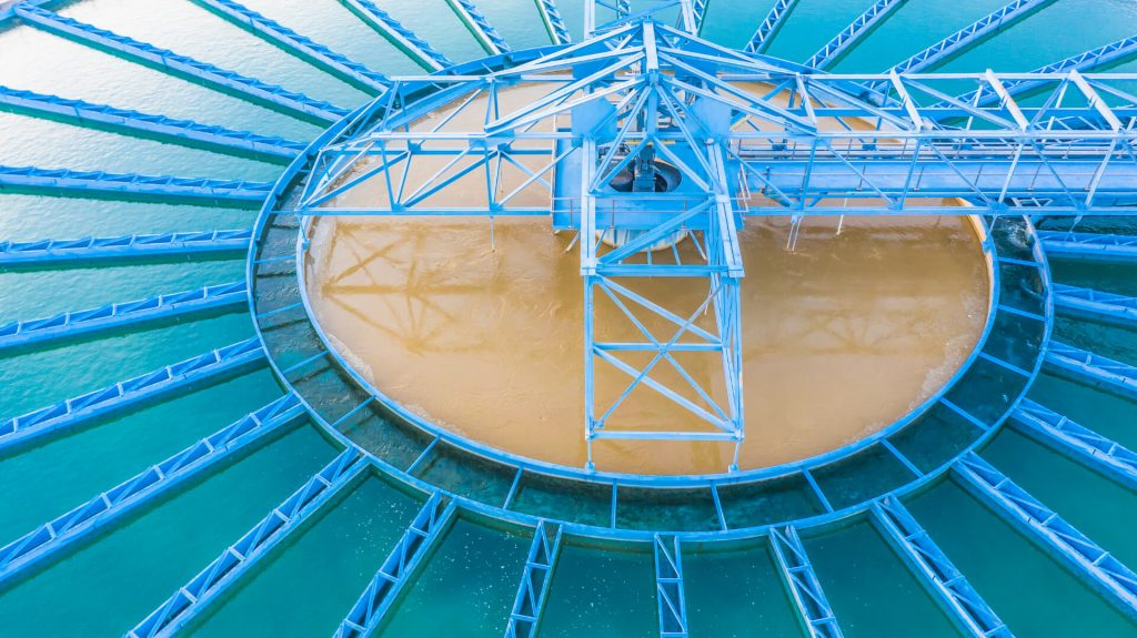 Aerial view recirculation solid contact clarifier sedimentation tank