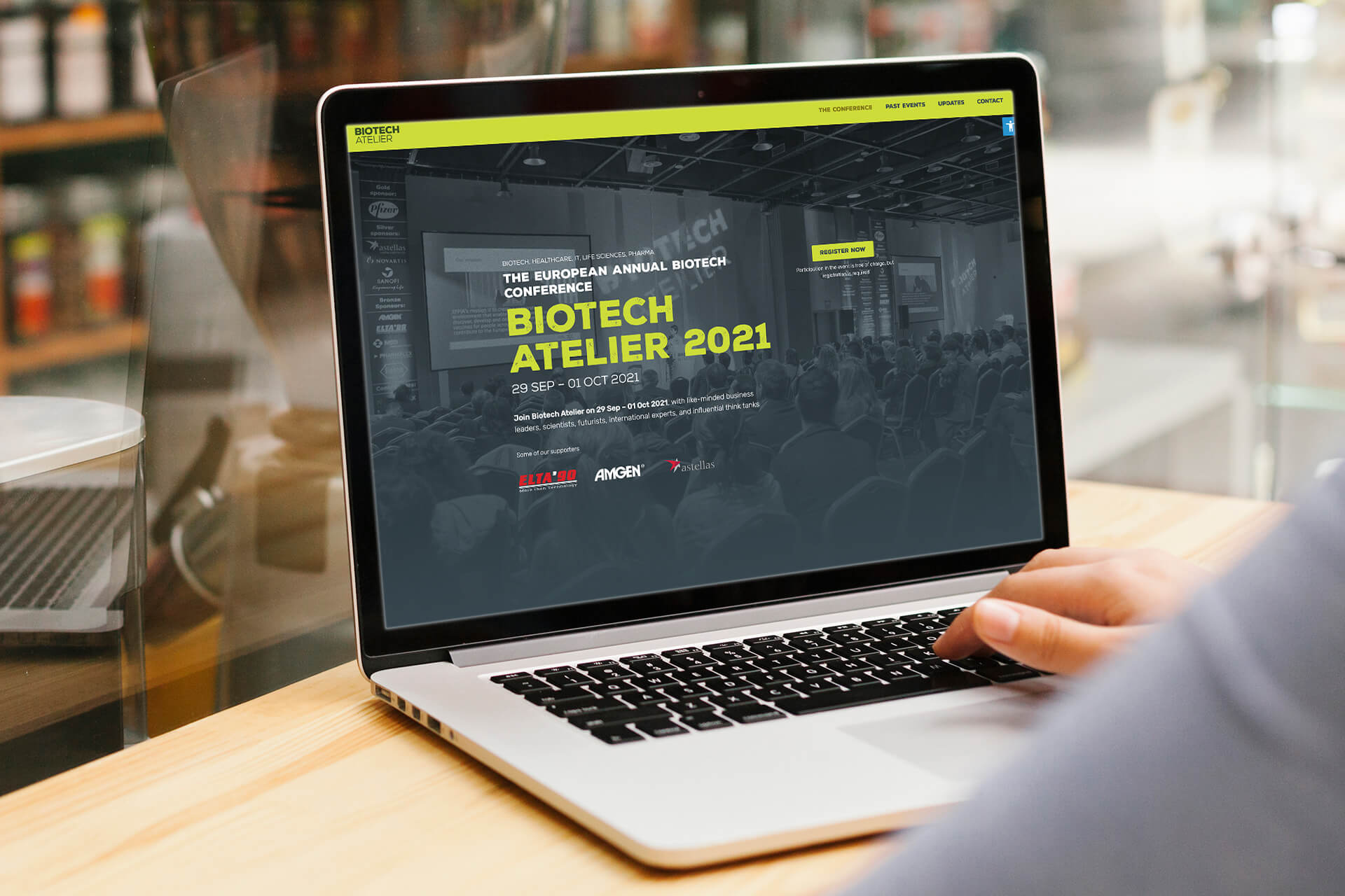 Computer screen showing Biotech Atelier's landing page for 2021